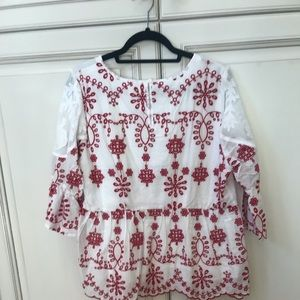 Skies Are Blue Red & White Embroidered Blouse